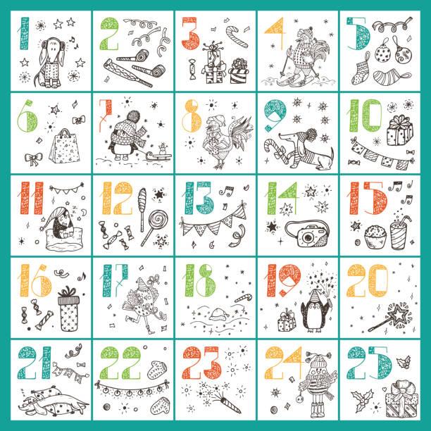 Christmas advent calendar. Hand Drawn Doodle Christmas characters and decorations – Vektorgrafik