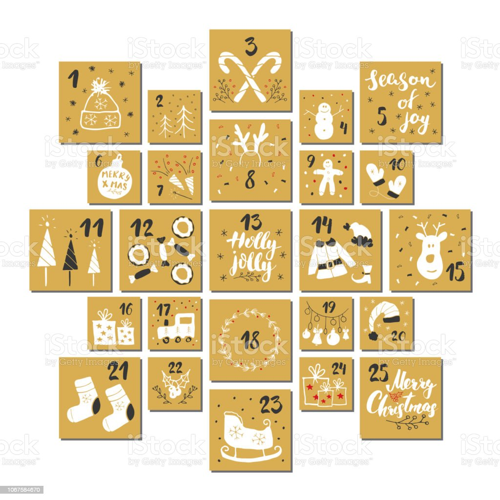 Calendario de Adviento de Navidad. Números y elementos dibujados a mano. Invierno vacaciones calendario tarjetas configuradas en el diseño, ilustración vectorial - ilustración de arte vectorial