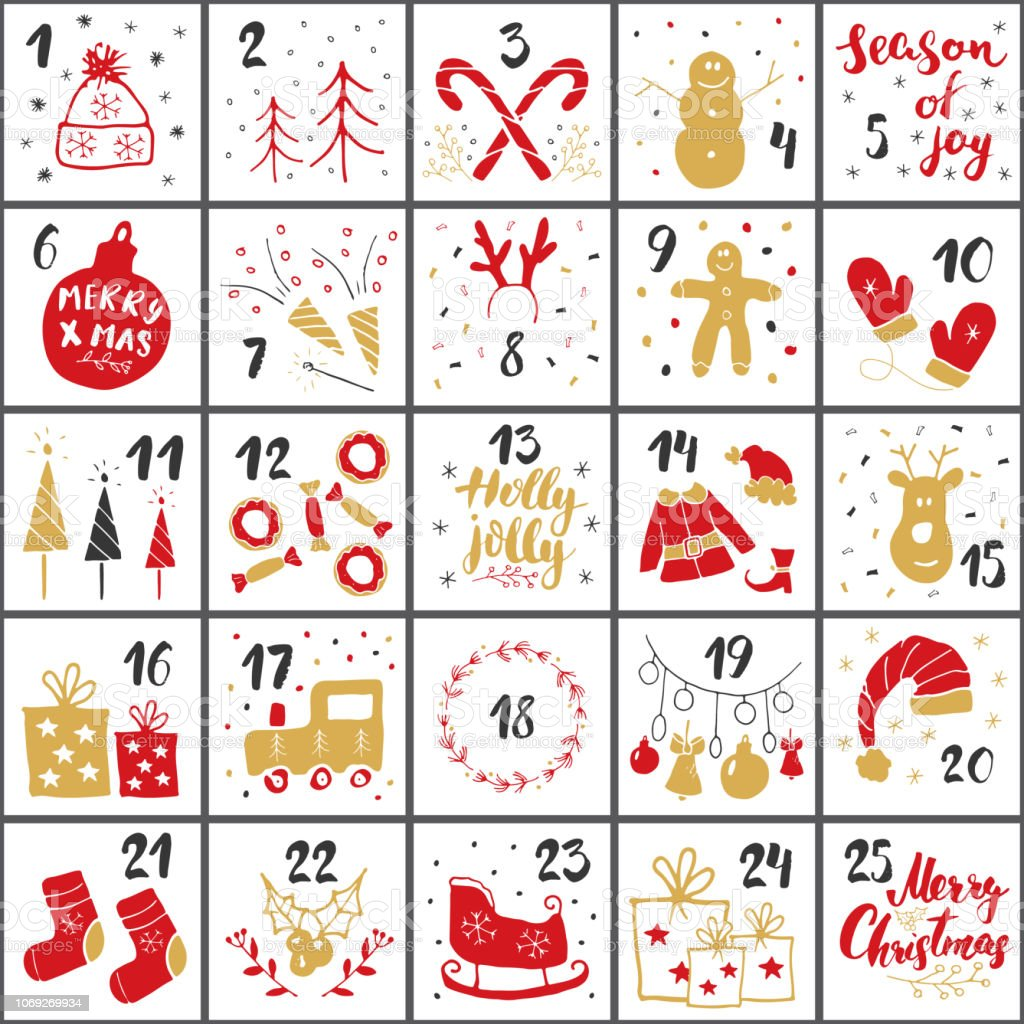 Christmas Advent Calendar Hand Drawn Elements And Numbers ...