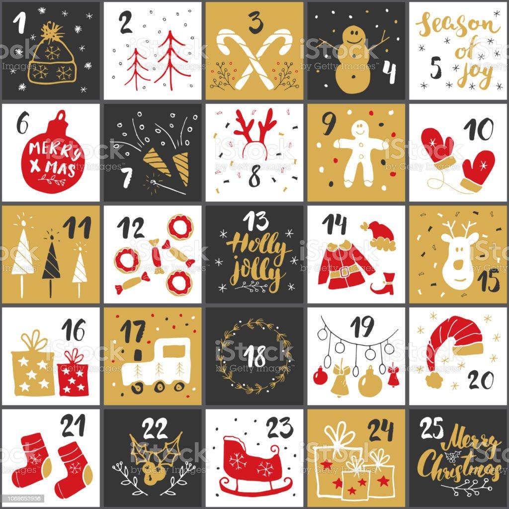 Calendrier de l'Avent Noël. Les éléments dessinés à la main et numéros. Cartes de calendrier de vacances hiver scénographie, illustration vectorielle - clipart vectoriel de Affiche libre de droits