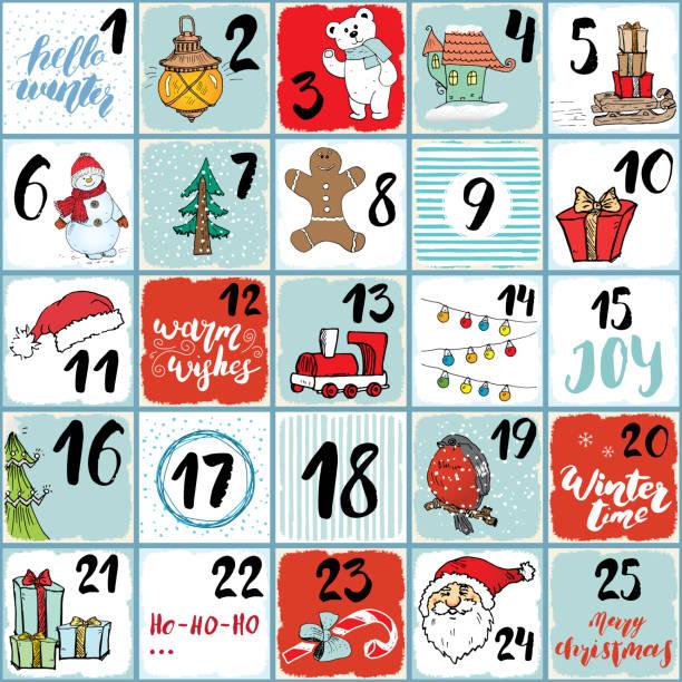 ilustrações, clipart, desenhos animados e ícones de calendário do advento do natal. elementos de mão desenhada e números. cartões de calendário de feriados de inverno cenografia, ilustração vetorial - advento