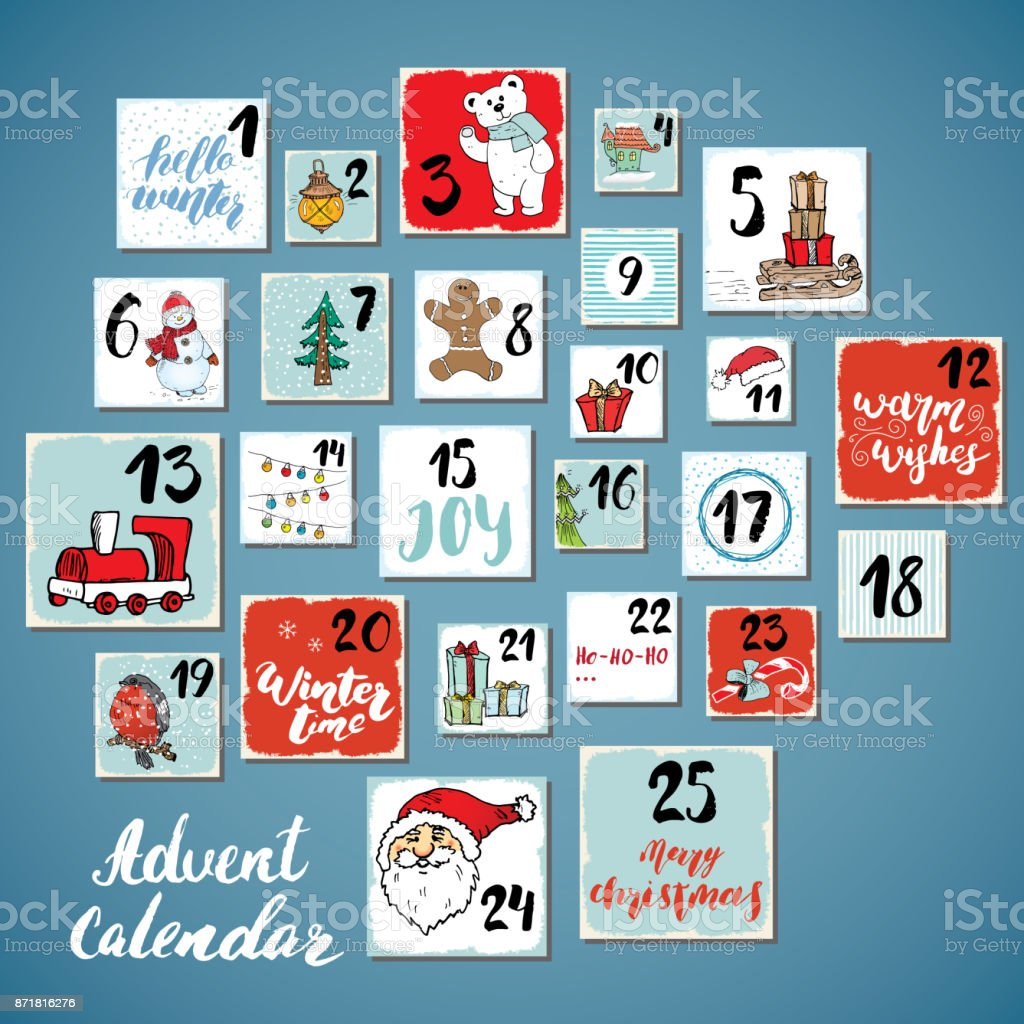 Christmas advent calendar. Hand drawn elements and numbers. Winter holidays calendar cards set design, Vector illustration vector art illustration