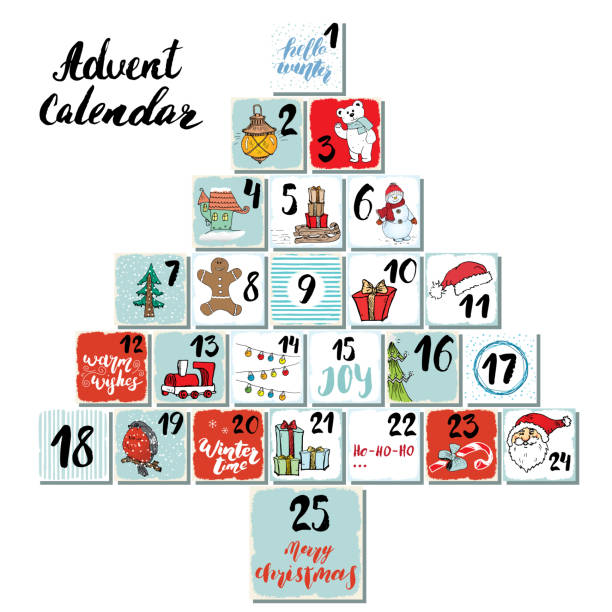 christmas advent calendar. hand drawn elements and numbers. winter holidays calendar cards set design, vector illustration - advent stock illustrations