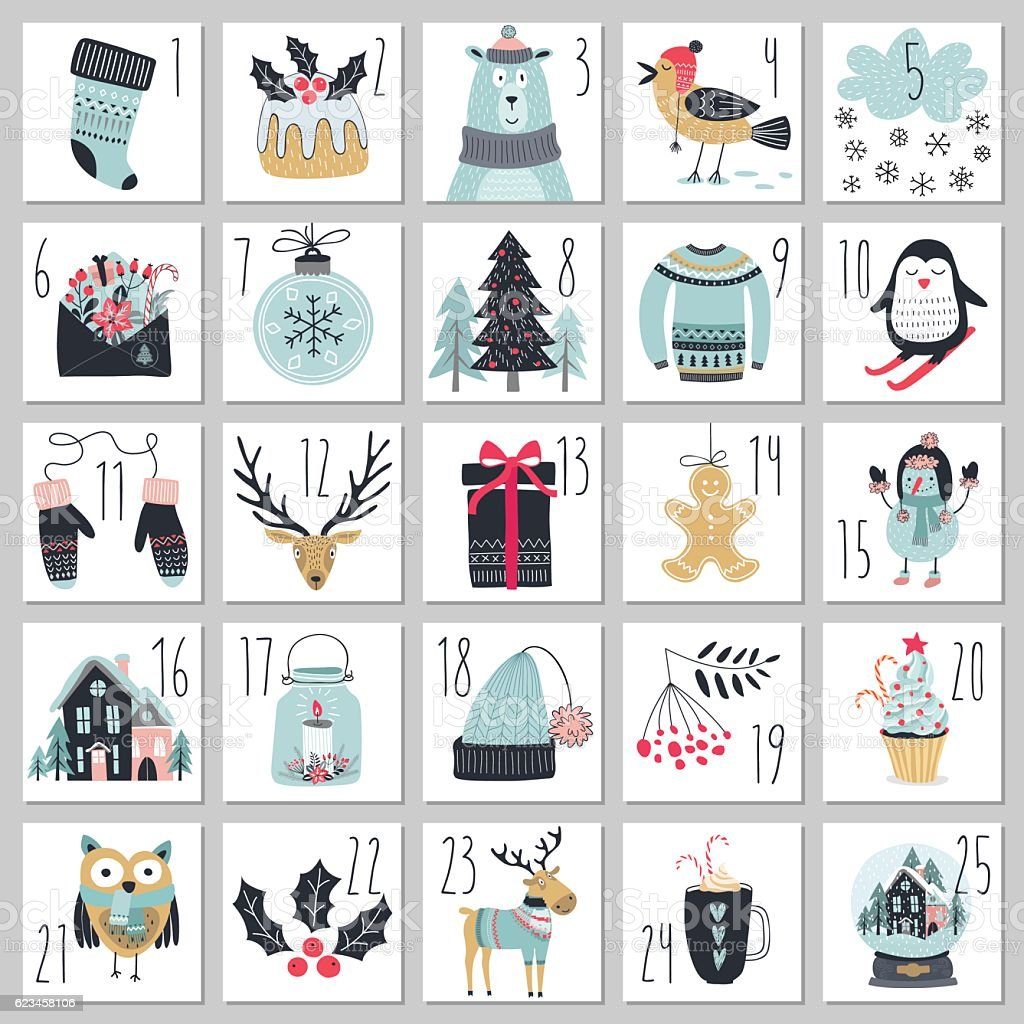 Christmas advent calendar, hand drawn style. - Illustration vectorielle