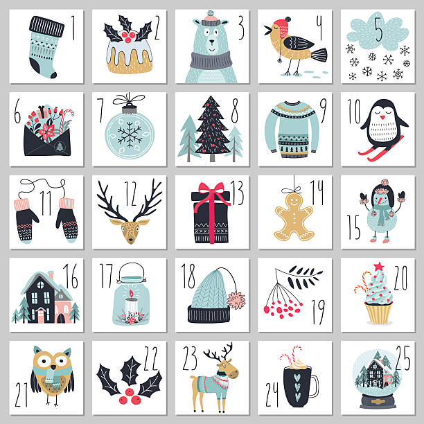 ilustraciones, imágenes clip art, dibujos animados e iconos de stock de christmas advent calendar, hand drawn style. - advent