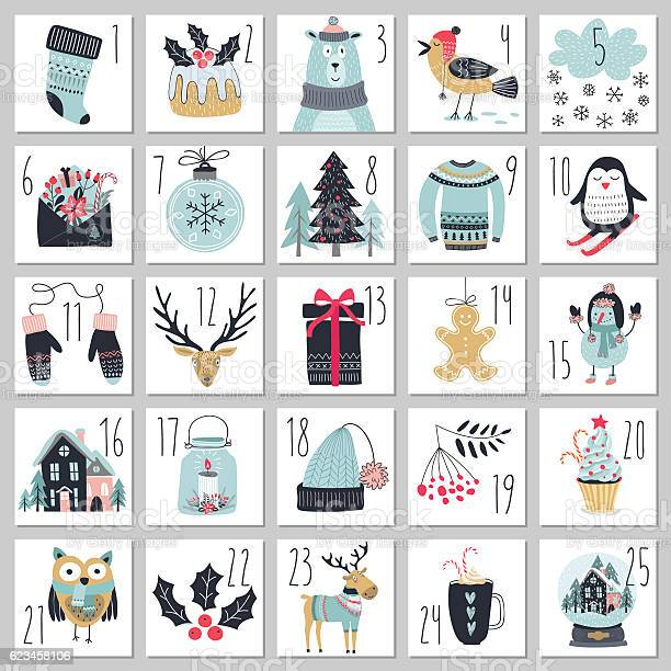 Christmas Advent Calendar Hand Drawn Style Vecteurs libres de droits et plus d'images vectorielles de 2017