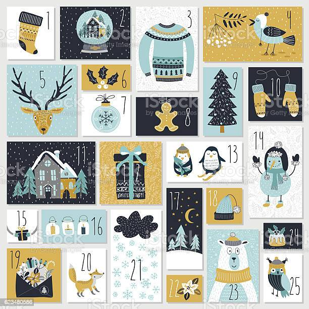 Christmas Advent Calendar Hand Drawn Style Stock Illustration - Download Image Now