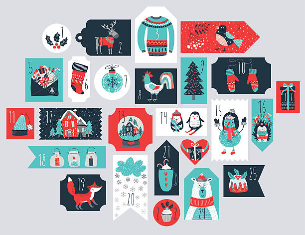 christmas advent calendar, hand drawn style. - advent stock illustrations