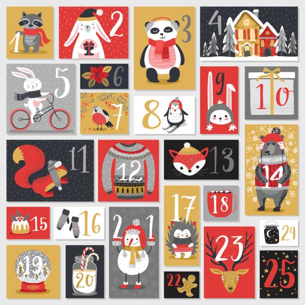 christmas advent calendar, hand drawn style. - animals calendar stock illustrations, clip art, cartoons, & icons