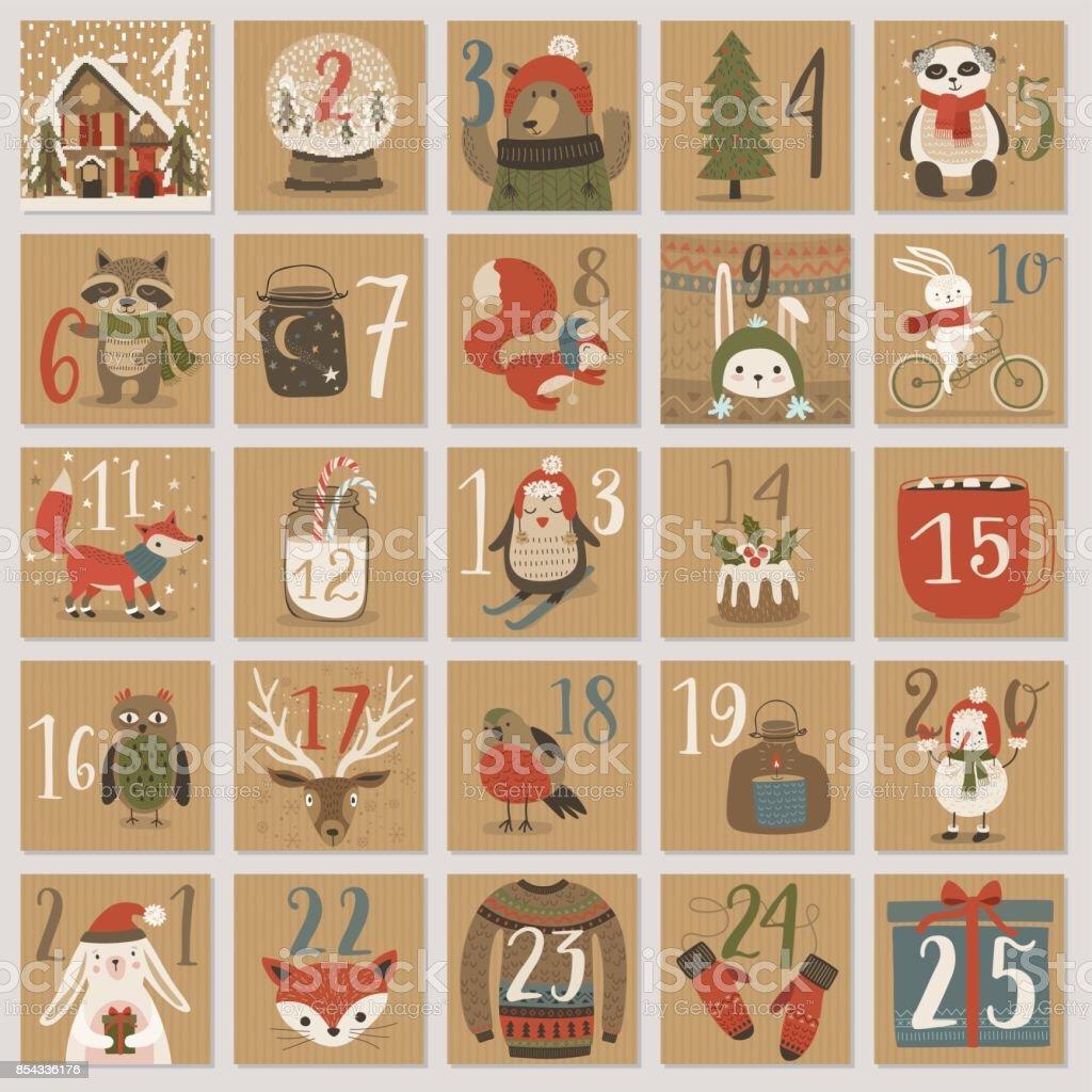 手描きスタイルのクリスマス アドベント カレンダー。 ベクターアートイラスト