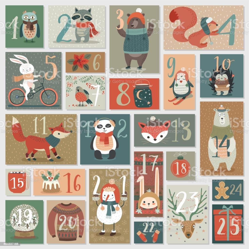 Weihnachten-Adventskalender, handgezeichneten Stil. – Vektorgrafik