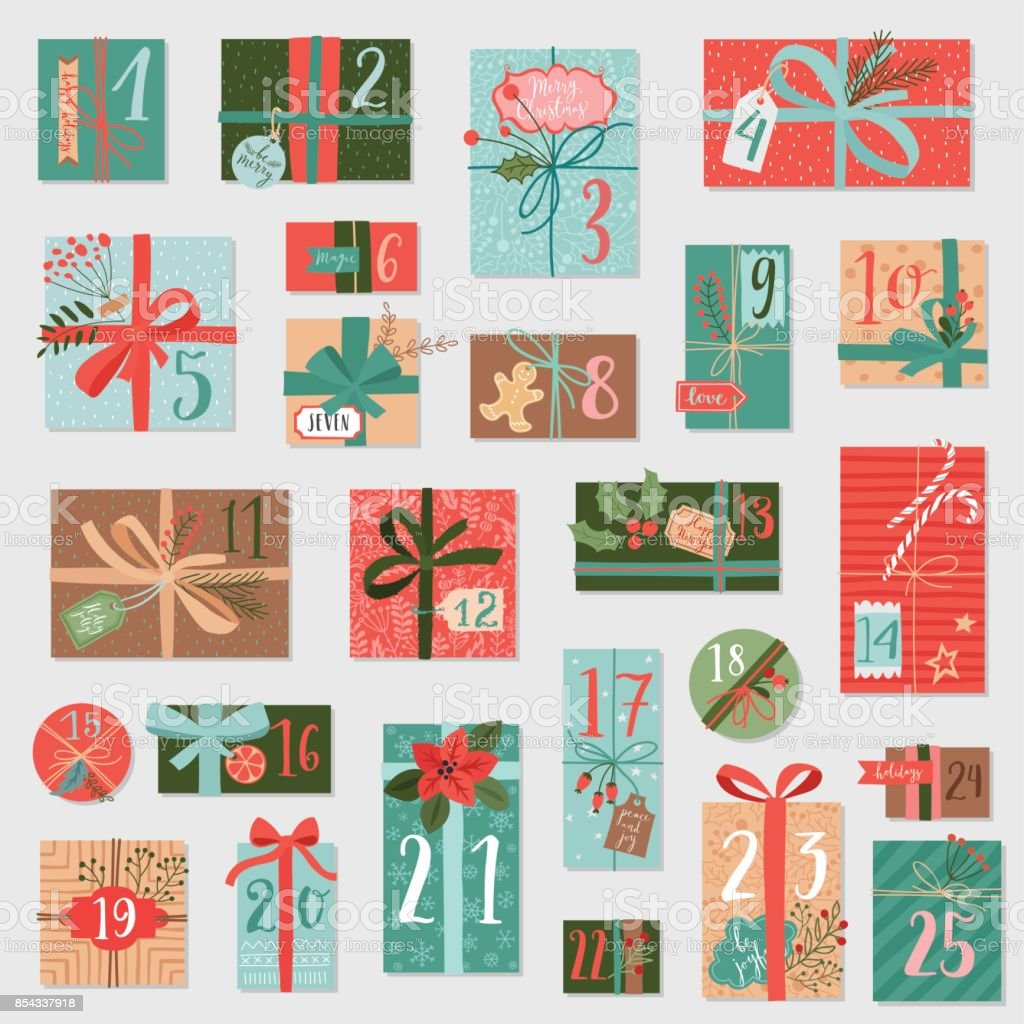 Christmas advent calendar, hand drawn style. vector art illustration