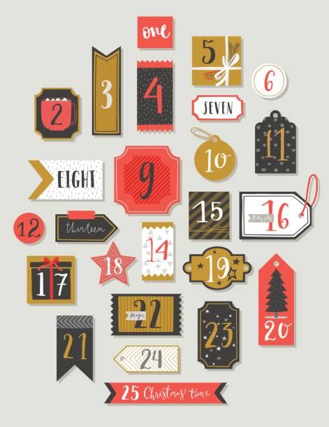 illustrations, cliparts, dessins animés et icônes de calendrier de l'avent noël, style dessinés à la main. - advent