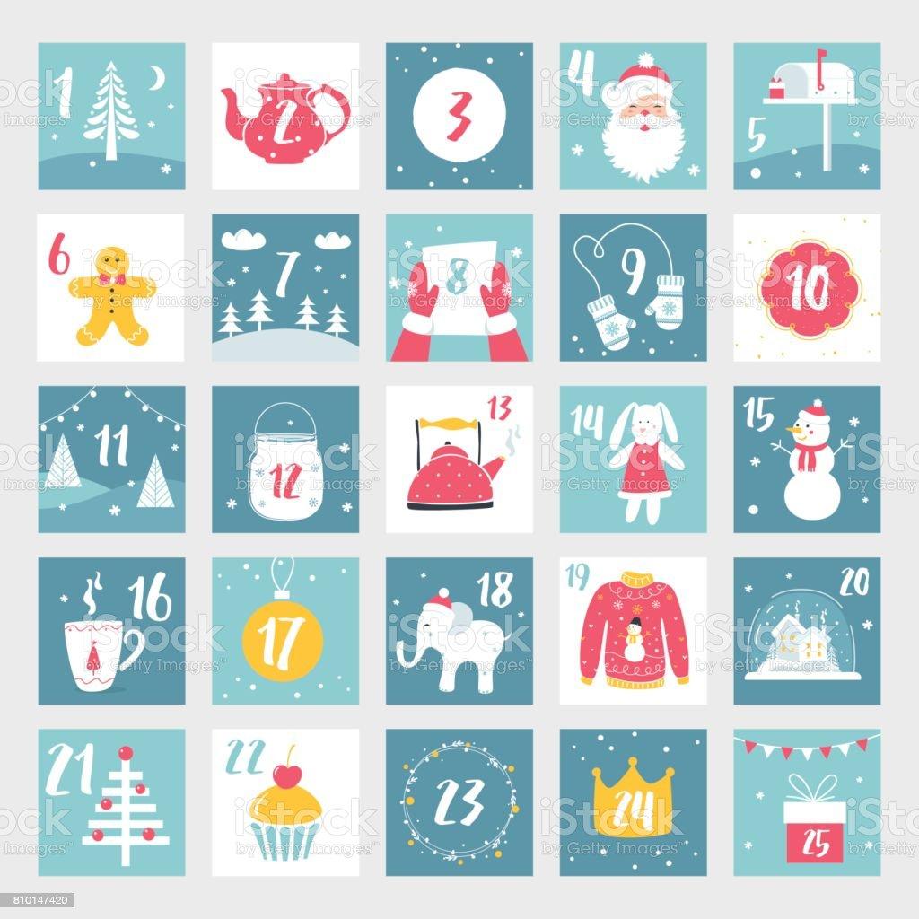 クリスマス アドベント カレンダーやポスター。冬の休日のデザイン要素です。カウント ダウン カレンダー ベクターアートイラスト