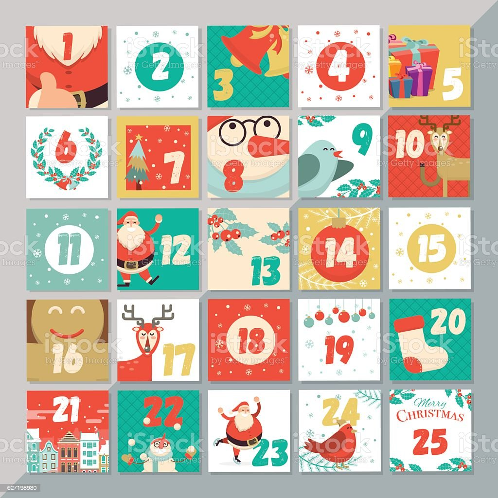 Christmas advent calendar template. Vector xmas greeting card - Illustration vectorielle