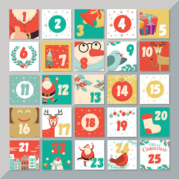 ilustraciones, imágenes clip art, dibujos animados e iconos de stock de christmas advent calendar template. vector xmas greeting card - advent
