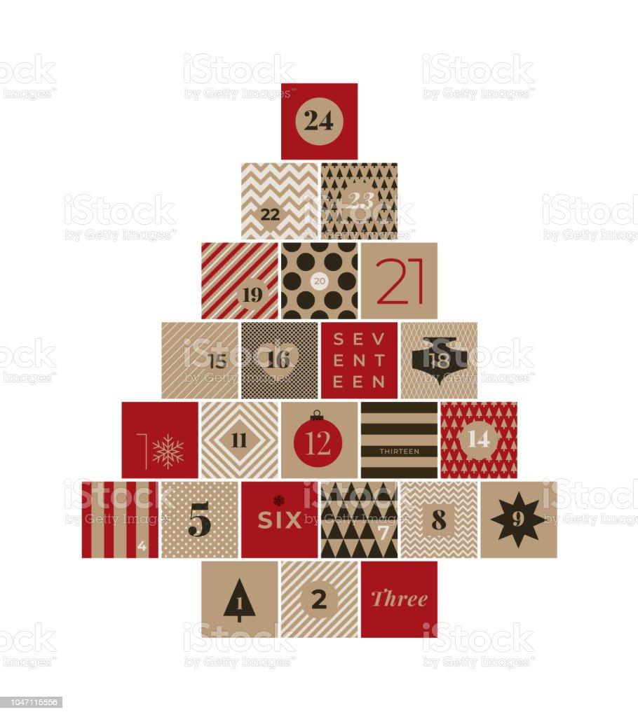 Noël, calendrier de l'avent - clipart vectoriel de 2018 libre de droits