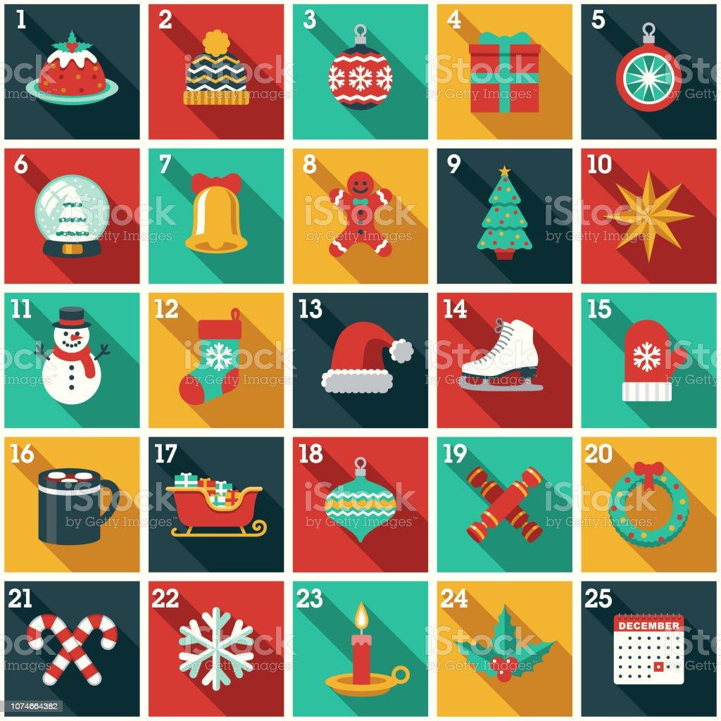 Calendrier de l'Avent Noël - clipart vectoriel de Arbre libre de droits