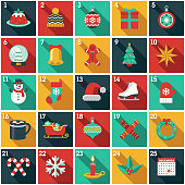 A cute Christmas Advent Calendar in a flat design style. File built in layers in the CMYK color space for optimal printing. Color swatches are global for quick and easy color changes.