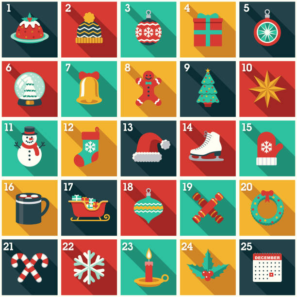 Christmas Advent Calendar A cute Christmas Advent Calendar in a flat design style. File built in layers in the CMYK color space for optimal printing. Color swatches are global for quick and easy color changes. christmas icons stock illustrations