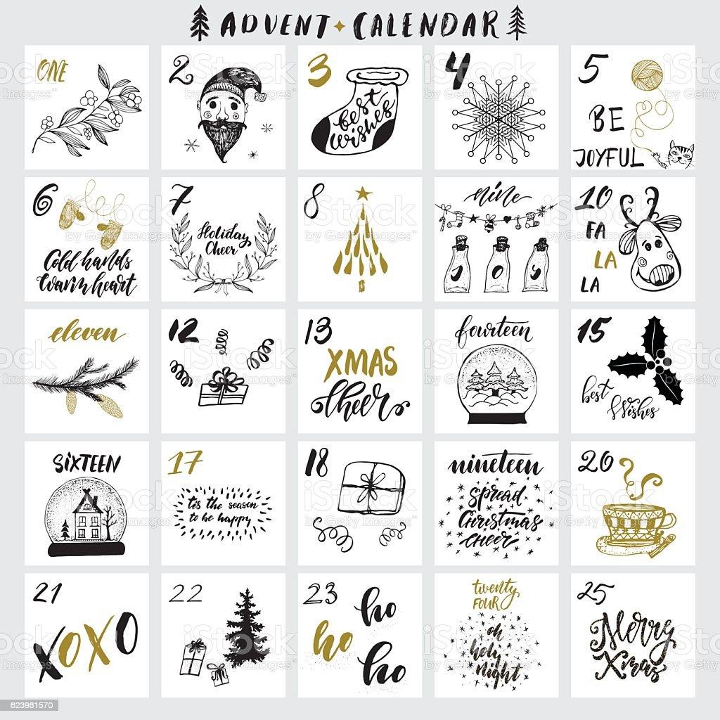 Weihnachts-Adventskalender - Lizenzfrei Brief - Dokument Vektorgrafik