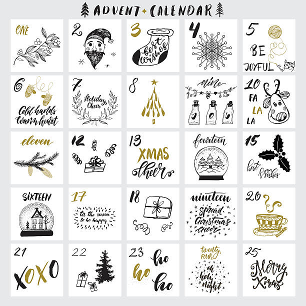christmas advent calendar - advent stock illustrations