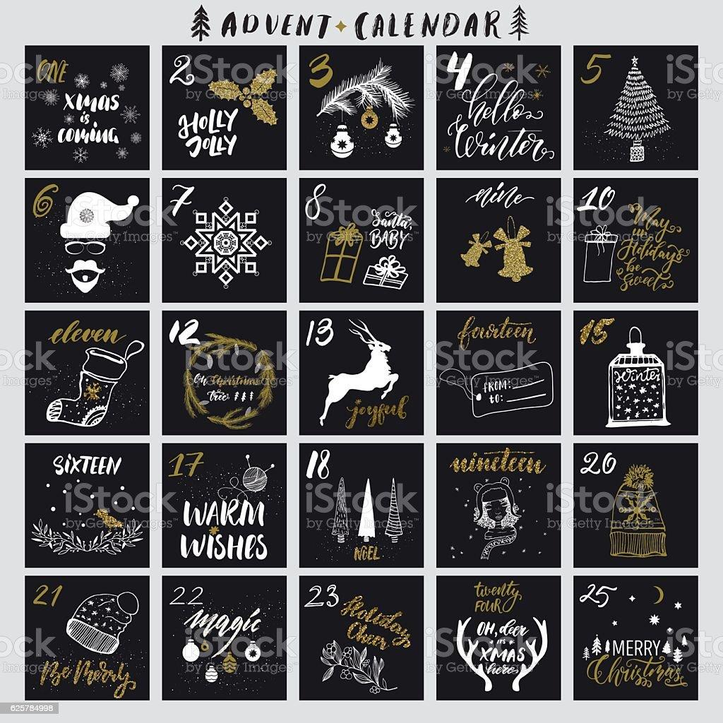 Noël, calendrier de l'avent - clipart vectoriel de Bordure libre de droits