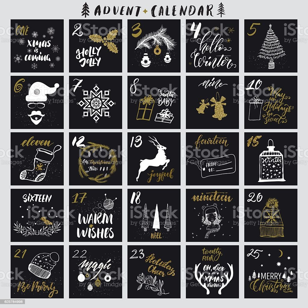Christmas advent calendar vector art illustration