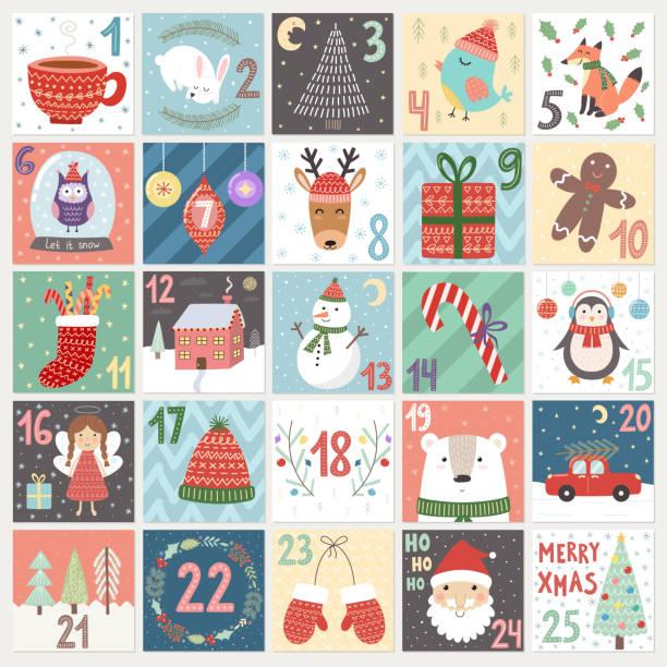 ilustraciones, imágenes clip art, dibujos animados e iconos de stock de navidad calendario navideño - adviento
