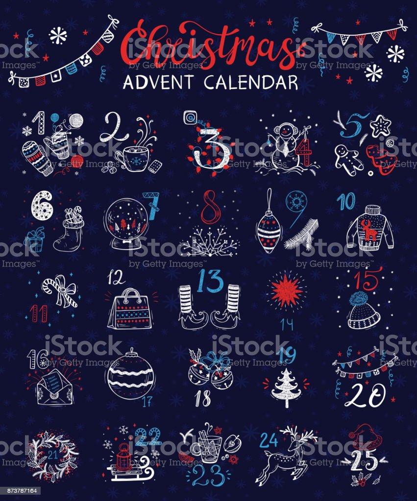 Calendrier de l'Avent Noël. Affiche de vacances d'hiver de vecteur - clipart vectoriel de Arbre libre de droits