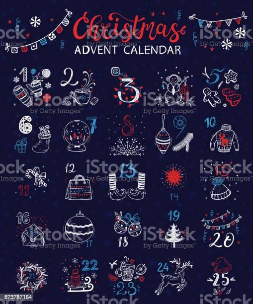 Calendrier De Lavent Noël Affiche De Vacances Dhiver De Vecteur Vecteurs libres de droits et plus d'images vectorielles de Arbre