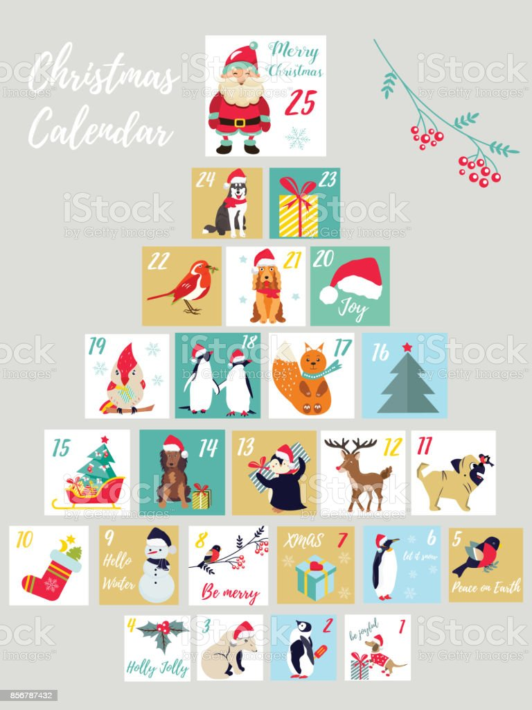 Christmas advent calendar. Winter holidays poster with cute animals and symbols vector art illustration