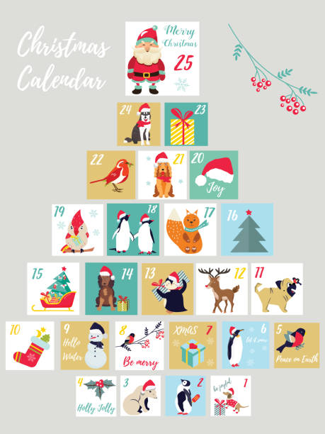christmas advent calendar. winter holidays poster with cute animals and symbols - birds calendar stock illustrations, clip art, cartoons, & icons