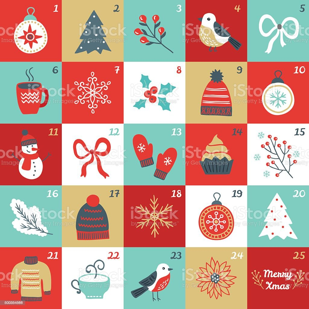 Christmas Advent Calendar with bird, branches, Christmas balls, bow, mittens vector art illustration