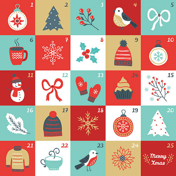christmas advent calendar with bird, branches, christmas balls, bow, mittens - advent stock illustrations