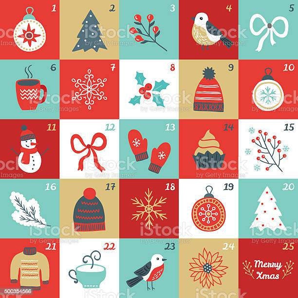 Calendrier De Lavent De Noël Avec Des Oiseaux Branches Des Boules De Noël Bow Moufles Vecteurs libres de droits et plus d'images vectorielles de 2015