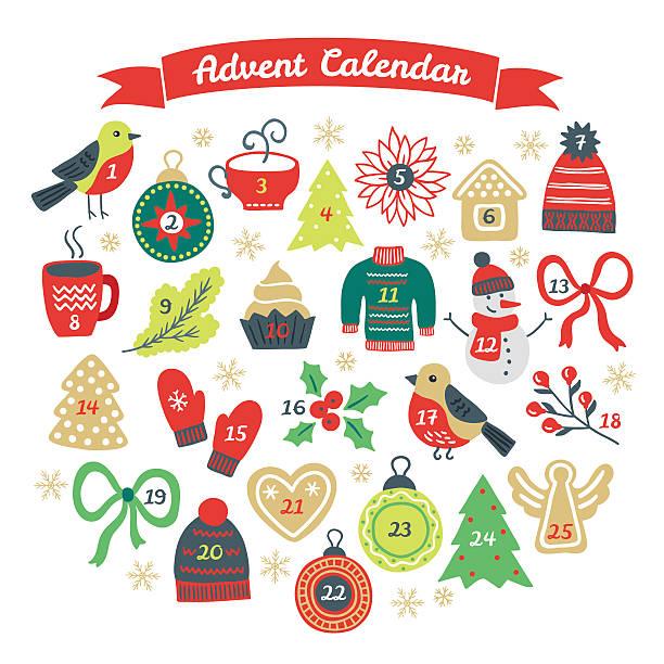 illustrations, cliparts, dessins animés et icônes de noël, calendrier de l'avent avec bouvreuil, ballon, sapin, biscuits - advent