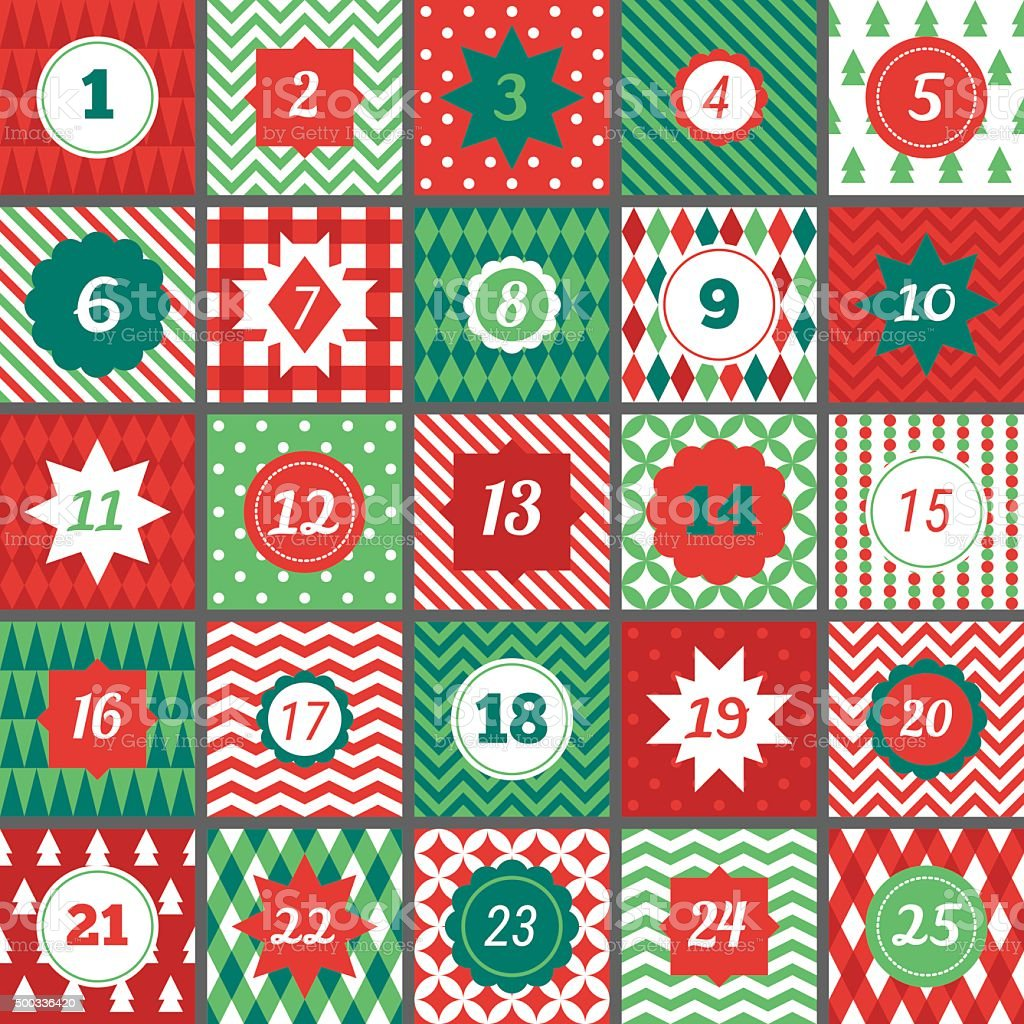 Christmas advent calendar with Chevron, Polka dot, Gingham, Argyle, Harlequin vector art illustration