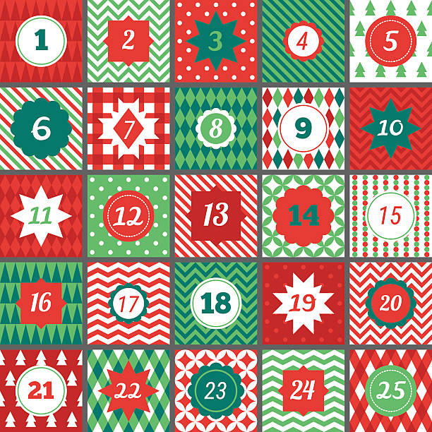 christmas advent calendar with chevron, polka dot, gingham, argyle, harlequin - advent stock illustrations