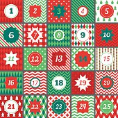 Christmas advent calendar with Chevron, Polka dot, Gingham, Argyle, Harlequin