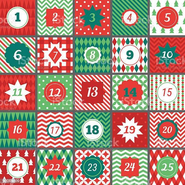Christmas Advent Calendar With Chevron Polka Dot Gingham Argyle Harlequin-vektorgrafik och fler bilder på 2015