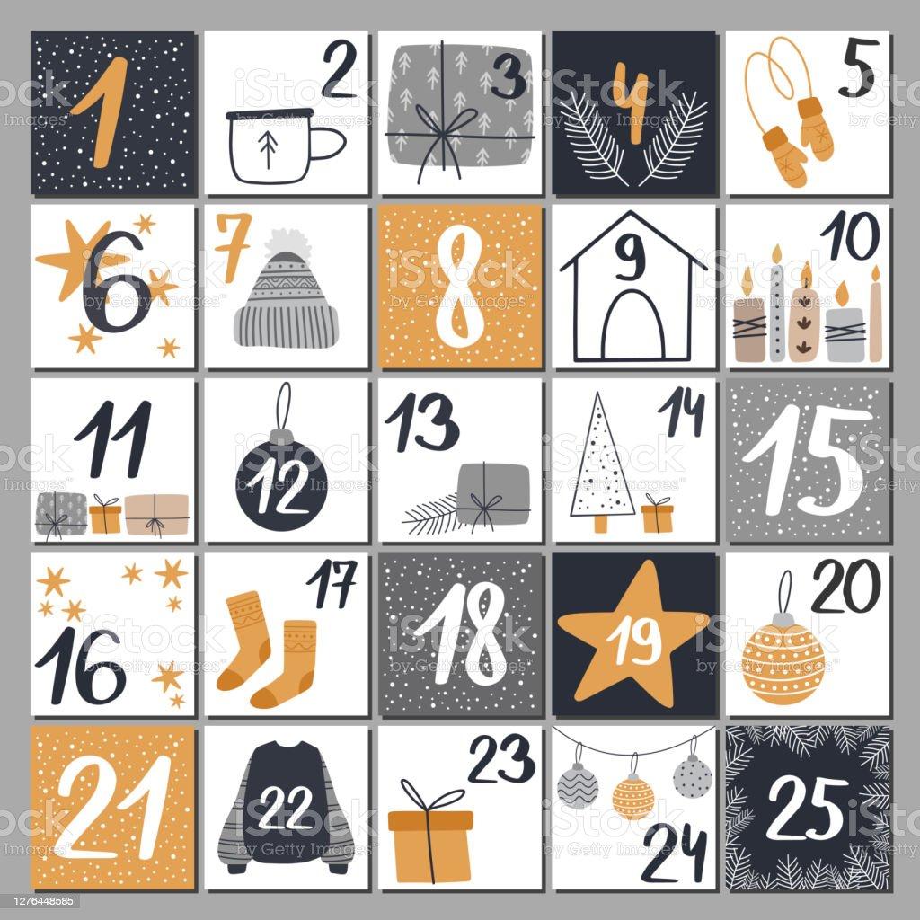 Jul adventskalender med handritade element. - Royaltyfri Adventskalender vektorgrafik