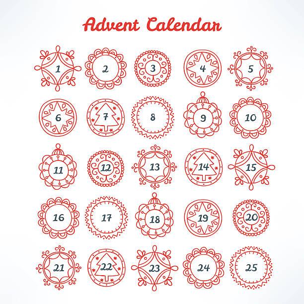クリスマスのアドベントカレンダーにレッドの曲線フレーム ベクターアートイラスト