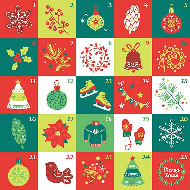 Weihnachts-Adventskalender mit star cookie, ball, Hütchen, Beeren, Christbaumkugel – Vektorgrafik