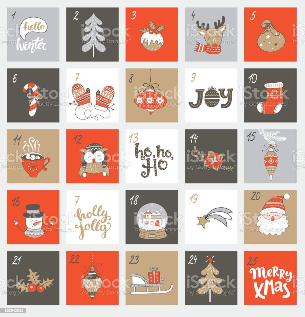 Calendario de Adviento de Navidad con símbolos. - ilustración de arte vectorial
