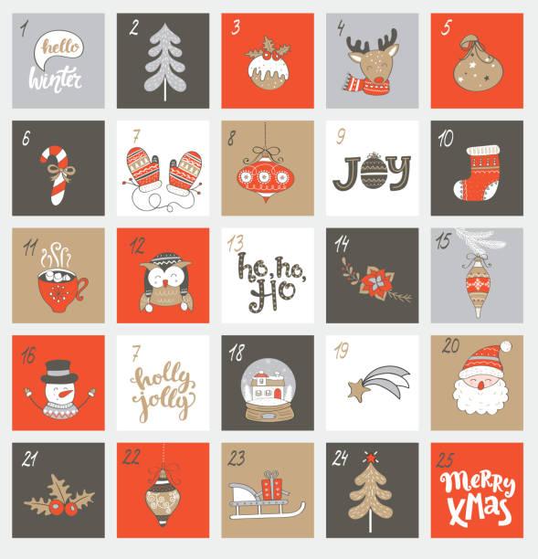 ilustraciones, imágenes clip art, dibujos animados e iconos de stock de calendario de adviento de navidad con símbolos. - adviento