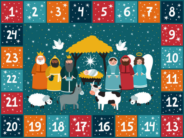 christmas advent calendar with traditional nativity scene. bright holiday background in cartoon style. - advent stock illustrations