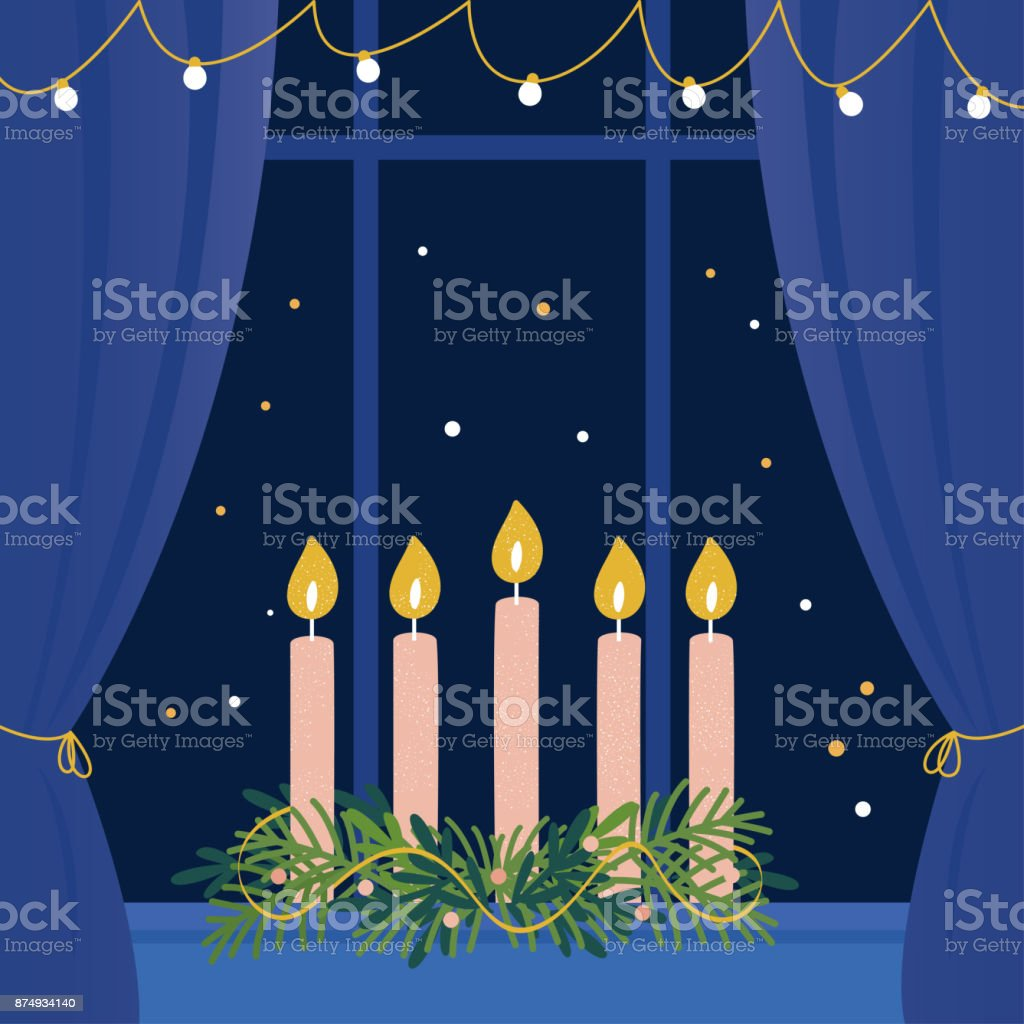 窓枠にキャンドルでクリスマス アドベント リース ベクターアートイラスト