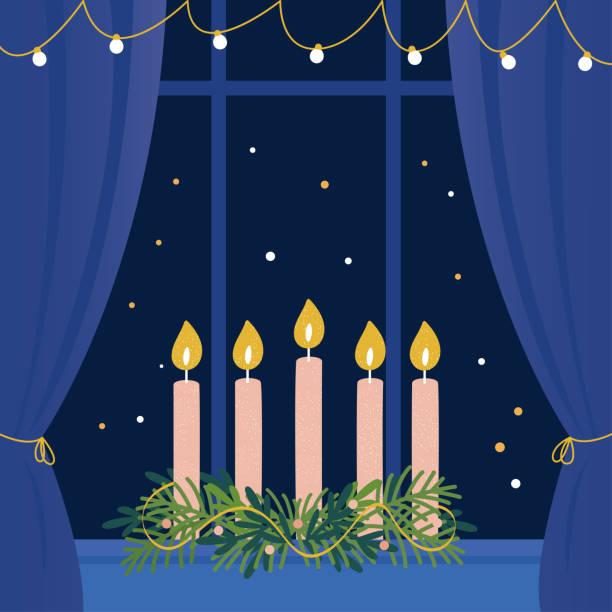 ilustraciones, imágenes clip art, dibujos animados e iconos de stock de corona de adviento de navidad con velas en el alféizar de la ventana - adviento