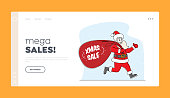 Christmas Advertising, Shopping Promotion, Announcement. Landing Page Template. Santa Claus Run with Huge Red Bag. Character in Costume Hold Sack with Xmas Sale Typography. Linear Vector Illustration